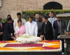 The President of the Democratic Socialist Republic of Sri Lanka, Maithripala Sirisena and Jayanthi Sirisena laying wreath at the Samadhi of Mahatma Gandhi, at Rajghat