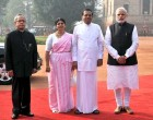 The President, Pranab Mukherjee, the PM, Narendra Modi with the President of the Democratic Socialist Republic of Sri Lanka, Maithripala Sirisena