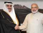 The Prime Minister, Narendra Modi meeting the Foreign Minister of Bahrain, Shaikh Khalid Bin Mohamed Al Khalifa, in New Delhi on February 23, 2015.