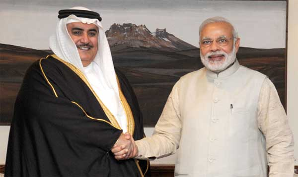 The Prime Minister, Narendra Modi meeting the Foreign Minister of Bahrain, Shaikh Khalid Bin Mohamed Al Khalifa, in New Delhi.