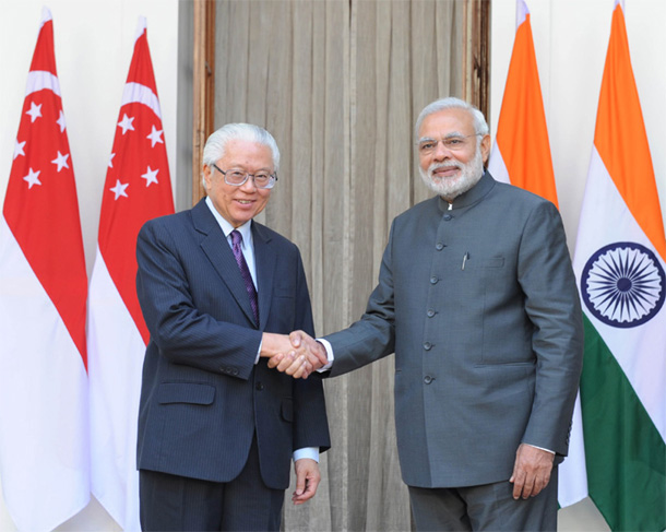Prime Minister Narendra Modi & Singapore President Dr. Tony Tan Keng Yam at Hyderabad House
