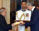 The Ambassador-designate of Italy, Enzo Angeloni presenting his credential to the President, Pranab Mukherjee