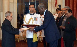 The Ambassador-designate of the Republic of Senegal, El Hadji lbou Boye presenting his credential to the President, Pranab Mukherjee