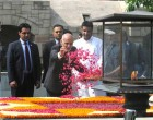 The President of the Islamic Republic of Afghanistan, Dr. Mohammad Ashraf Ghani paying floral tributes at the Samadhi of Mahatma Gandhi