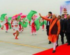 Chinese traditional dancers welcoming the PM, Narendra Modi at Xi'an Xiangyang International Airport,