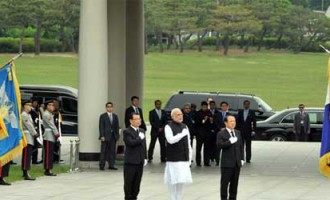 The Prime Minister, Narendra Modi at the Wreath Laying Ceremony, in Seoul National Cemetery, South Korea.