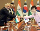 The Prime Minister, Narendra Modi and the President of Republic of Korea, Park Geun-hye, at the delegation
