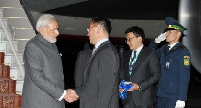 Modi reaches Mongolia in first-ever visit by an Indian PM