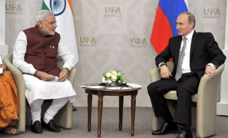 The Prime Minister, Narendra Modi in bilateral meeting with the President of Russian Federation, Vladimir Putin,