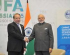 The Prime Minister, Narendra Modi meeting the Prime Minister of Pakistan, Nawaz Sharif, on the sidelines of the SCO Summit