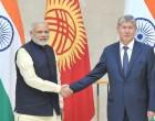 The Prime Minister, Narendra Modi with the President of Kyrgyz Republic, Almazbek Atambayev,