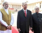 President of the Republic of Seychelles, James Alix Michel with the President, Pranab Mukherjee and the Prime Minister, Narendra Modi
