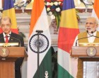 The PM, Narendra Modi giving his statement to the media with the President of the Republic of Seychelles,  James Alix Michel, at the Joint Press Statements