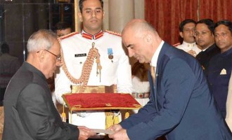 Ambassador-designate of the Republic of Armenia, Armen Martirosyan presenting his credential to the President, Pranab Mukherjee