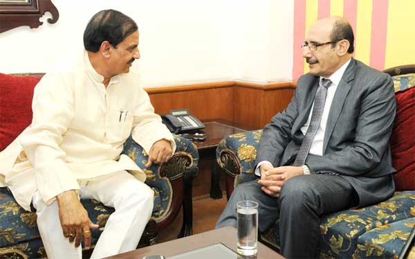 The Ambassador of the State of Palestine, Adnan M.A. Abualhayjaa meeting the Minister of State for Culture (Independent Charge), Tourism (Independent Charge) and Civil Aviation, Dr. Mahesh Sharma, in New Delhi.