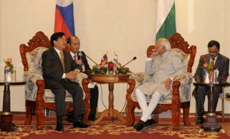 Vice President, Mohd. Hamid Ansari meeting the Deputy Prime Minister and Minister of Foreign Minister of Lao PDR, Thongloun Sisoulith