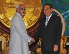 Vice President, Mohd. Hamid Ansari meeting the President of Lao PDR, Choummaly Sayasone