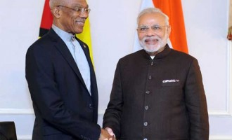 Prime Minister, Narendra Modi meets the President of Guyana, David Arthur Granger