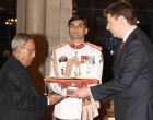 The Ambassador-designate of the Republic of Lithuania, Laimonas Talt-Kelpsa presented his credentials to the President, Pranab Mukherjee