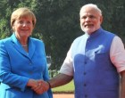 German Chancellor, Dr. Angela Merkel with the Prime Minister, Narendra Modi, at the Ceremonial Reception