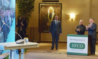 President, Pranab Mukherjee and the HM King Abdullah of Jordan at the Remote inauguration of JIFFCO Plant