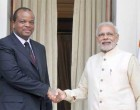 Prime Minister, Shri Narendra Modi meeting the King Mswati III of Swaziland, during the 3rd India Africa Forum Summit
