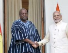 Prime Minister, Narendra Modi meeting the President of the Republic of Ghana, John Dramani Mahama