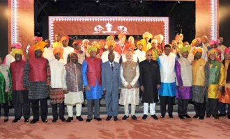 Prime Minister, Narendra Modi with the African leaders during the special dinner hosted, on the sidelines of the 3rd India Africa Forum Summit
