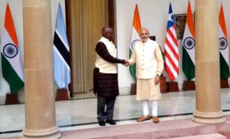 Prime Minister, Narendra Modi meeting the Vice President of the Republic of Botswana, Mokgweetsi Masisi
