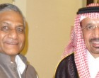 Minister of State for External Affairs Gen. (Retd.) Shri V K Singh meeting Health Minister Khalid bin Abdulaziz Al-Falih of Saudi Arabia in Jeddah