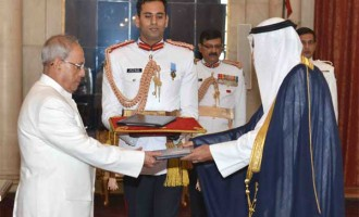 Ambassador-designate of State of Kuwait, Fahad Ahmad Mohammad Al-Awadhi presenting his credential to the President, Pranab Mukherjee