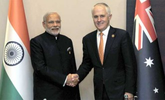Prime Minister, Narendra Modi and the Prime Minister of Australia, Malcolm Turnbull in their first bilateral meeting