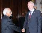 President of the National Assembly of Republic of the Slovenia, Dr. Milan Brglez calling on the Vice President of India and Chairman, Rajya Sabha, Mohd. Hamid Ansari