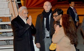 Prime Minister, Narendra Modi being received on his arrival at Paris to attend COP21 Summit, in France.