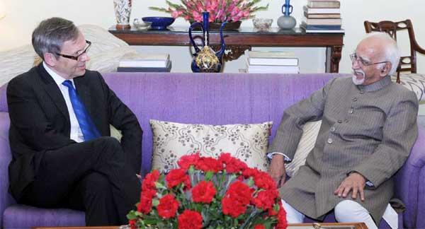 Ambassador of Norway to India, Nils Ragnar Kamsvag calling on the Vice President, Mohd. Hamid Ansari, in New Delhi.