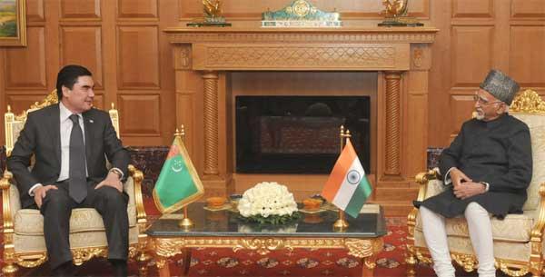 The Vice President, Mohd. Hamid Ansari meeting the President of Turkmenistan, Gurbanguly Berdimuhamedow, at Ashgabat, in Turkmenistan.