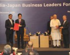 Prime Minister, Narendra Modi and the Prime Minister of Japan, Shinzo Abe at the India-Japan Business Leaders Forum