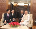 Prime Minister, Narendra Modi and the Prime Minister of Japan, Shinzo Abe in a one-on-one meeting