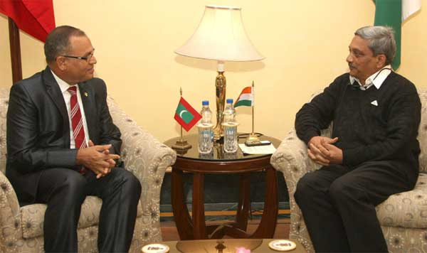 Minister of Defence, Maldives, Adam Shareef meeting the Union Minister for Defence, Manohar Parrikar, in New Delhi on January 19, 2016.