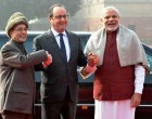 President of France, Francois Hollande being received by the President, Pranab Mukherjee and the Prime Minister, Narendra Modi