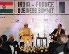 PM, Narendra Modi and the President of France, Francois Hollande, at the India-France Business Summit