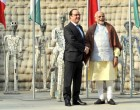 Prime Minister, Narendra Modi with the President of France, Francois Hollande, at Nek Chand Rock Garden, in Chandigarh on January 24, 2016.