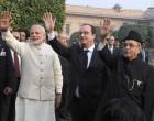 President, Pranab Mukherjee, the Prime Minister, Narendra Modi and the Chief Guest of Republic Day, President of France, Francois Hollande