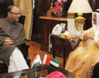 Minister of Economy, UAE, Sultan Al Mansoori meeting the Minister for Finance, Corporate Affairs and I&B, Arun Jaitley
