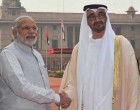 Crown Prince of Abu Dhabi, His Highness Sheikh Mohammed Bin Zayed Al Nahyan being welcomed by the Prime Minister, Narendra Modi