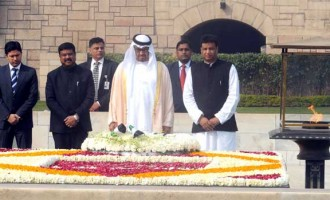 Prime Minister, Narendra Modi receiving the Crown Prince of Abu Dhabi paying homage at the Samadhi of Mahatma Gandhi,