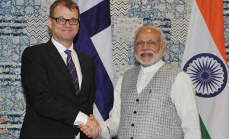 Prime Minister, Narendra Modi holding bilateral talks with the Prime Minister of Finland, Juha Sipila, at the Make in India Centre, in Mumbai.