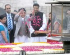 Prime Minister of Nepal, K.P. Sharma Oli paying floral tributes at the Samadhi of Mahatma Gandhi, at Rajghat,
