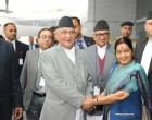 Prime Minister of Nepal, K.P. Sharma Oli being received by the Minister for External Affairs, Sushma Swaraj