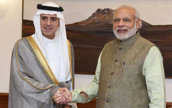Foreign Minister of Saudi Arabia, Adel bin Ahmed Al-Jubeir calls on the Prime Minister, Narendra Modi, in New Delhi.